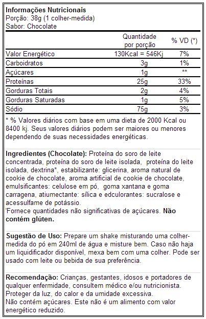 Whey-HD BPI - Tabela Nutricional - Sabor Chocolate