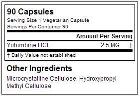 Yohimbine HCI - Primaforce - Tabela Nutricional