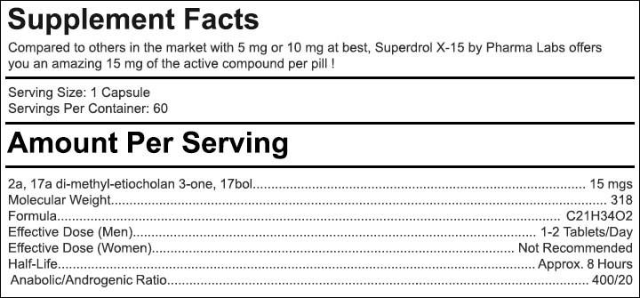 Superdrol X15 - Tabela Nutricional